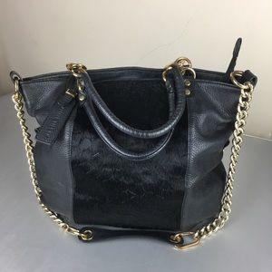 Plinio Visona black leather and fur shoulder bag